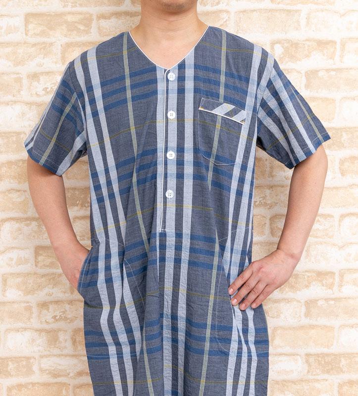 e2c3925f028720 スリーパー パジャマ メンズ 綿100%シワ加工で涼しい 半袖 半開【春・夏に適した素材】ネグリジェ パジャマ ワンピース [28011]